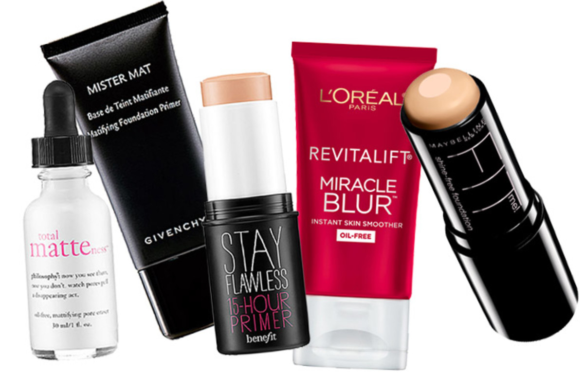 Philosophy Total Matteness serum_Givenchy Mister Mat primer_Benefit Stay Flawless 15-Hour Primer_L'Oreal Miracle Blur_Maybelline Shine-Free Foundation