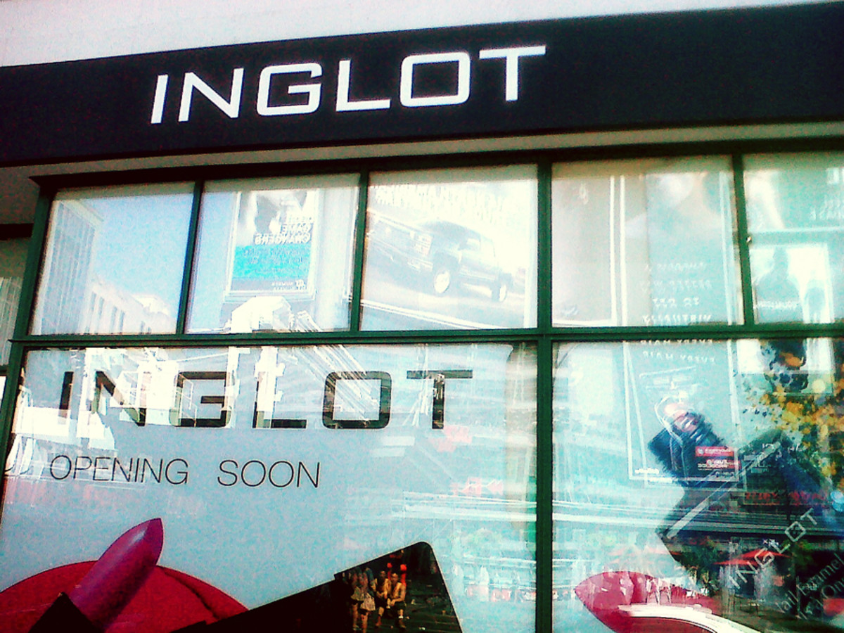 Inglot's new Toronto store windows in Dundas Square downtown.