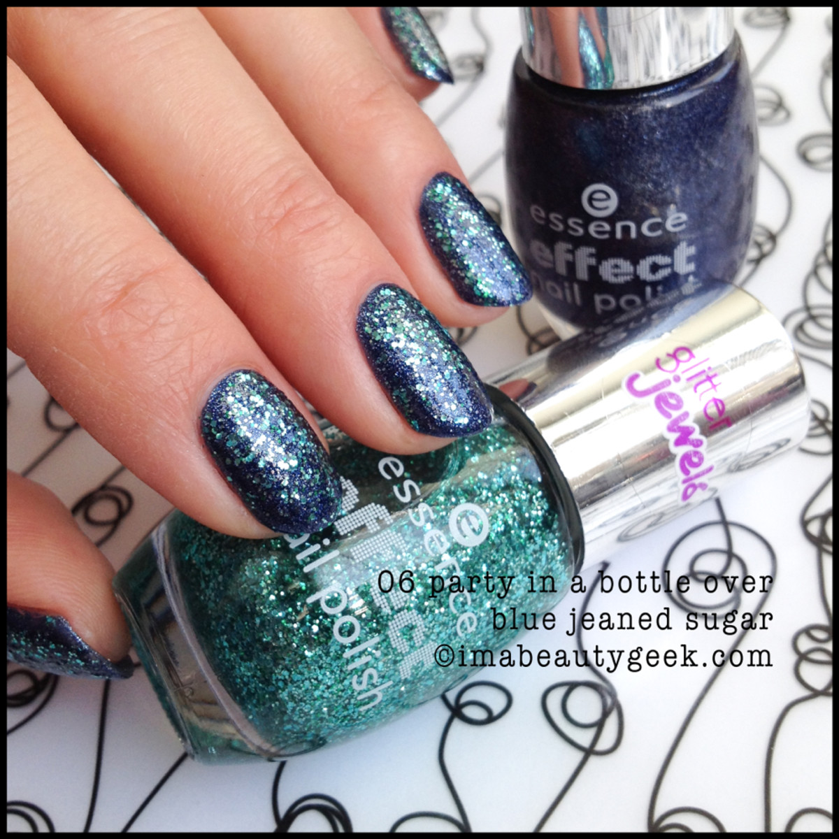 Essence Polish Party in a Bottle over Essence Blue Jeaned