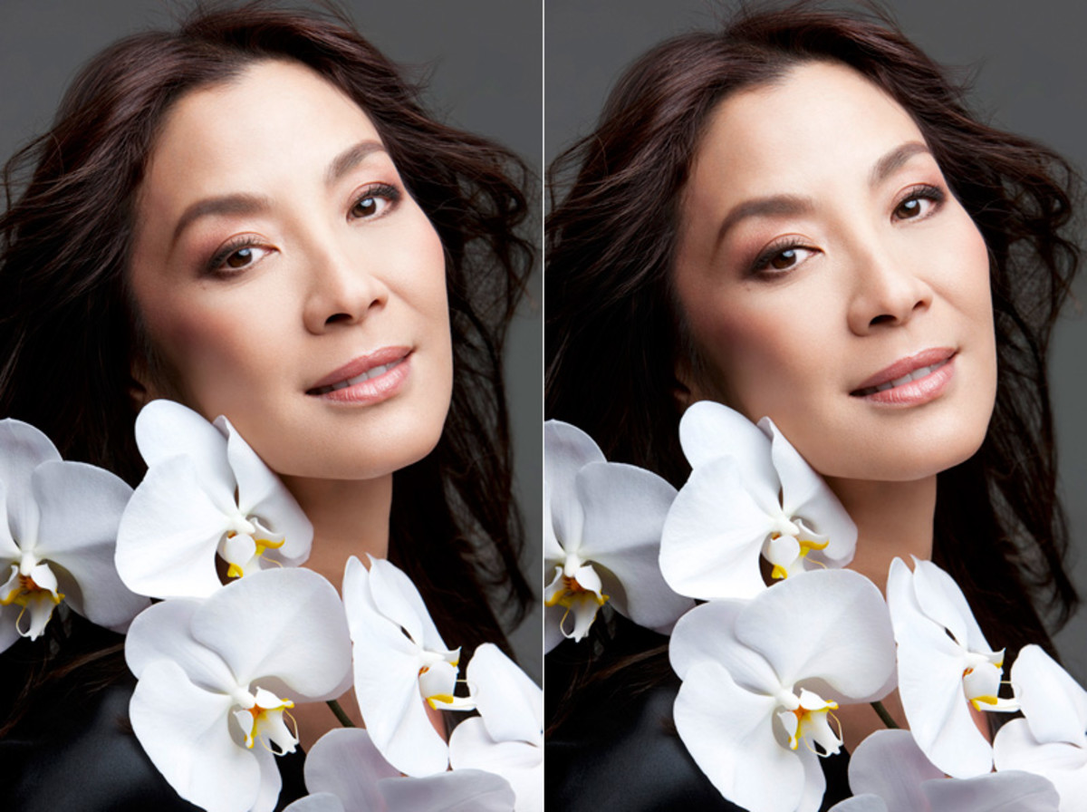 Michelle Yeoh for Guerlain: before and digital after