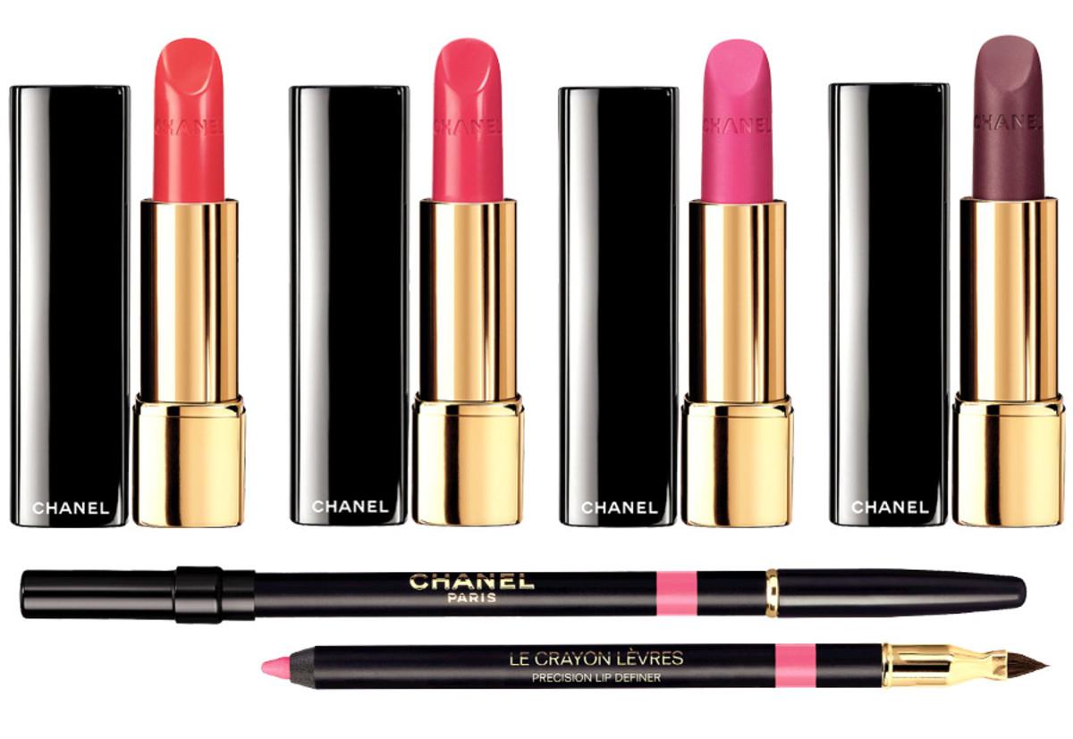 Chanel-Spring-2014-lipstick_Chanel-Rouge-Allure-Melodieuse_Chanel-Rouge-Allure-Fougueuse_Chanel-Rouge-Allure-Velvet-La-Diva_Chanel-Rouge-Allure-Velvet-LAdorée_Chanel-La-Diva-Sonic-Pink-lip-liner.jpg