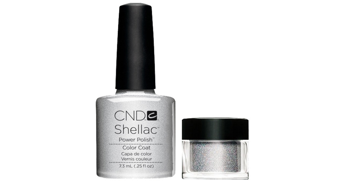 CND SHELLAC IN SILVER CHROME AND CND ADDITIVES GLITTER