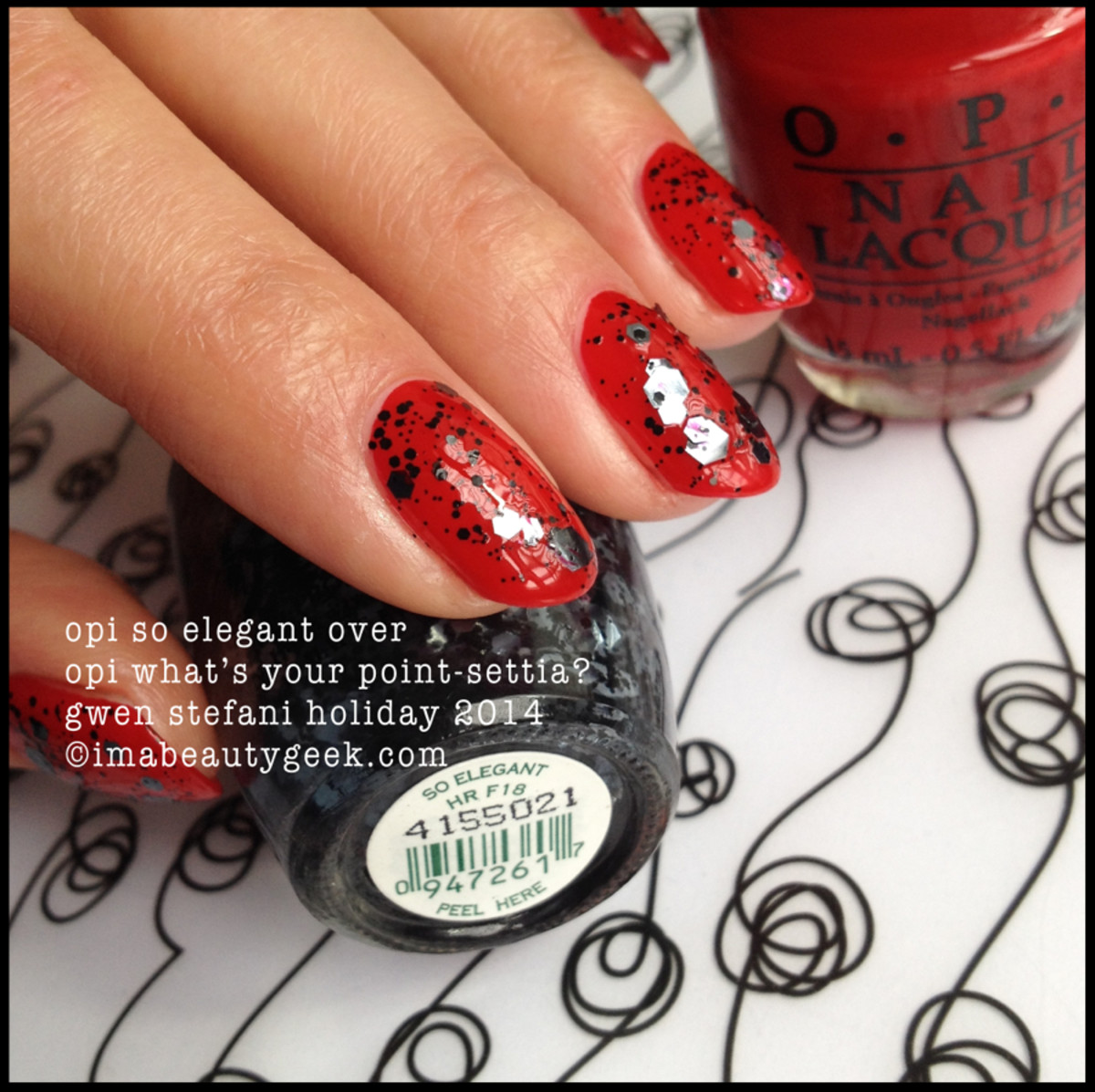 OPI So Elegant over OPI What's Your Point-Setta? Gwen Stefani Holiday 2014