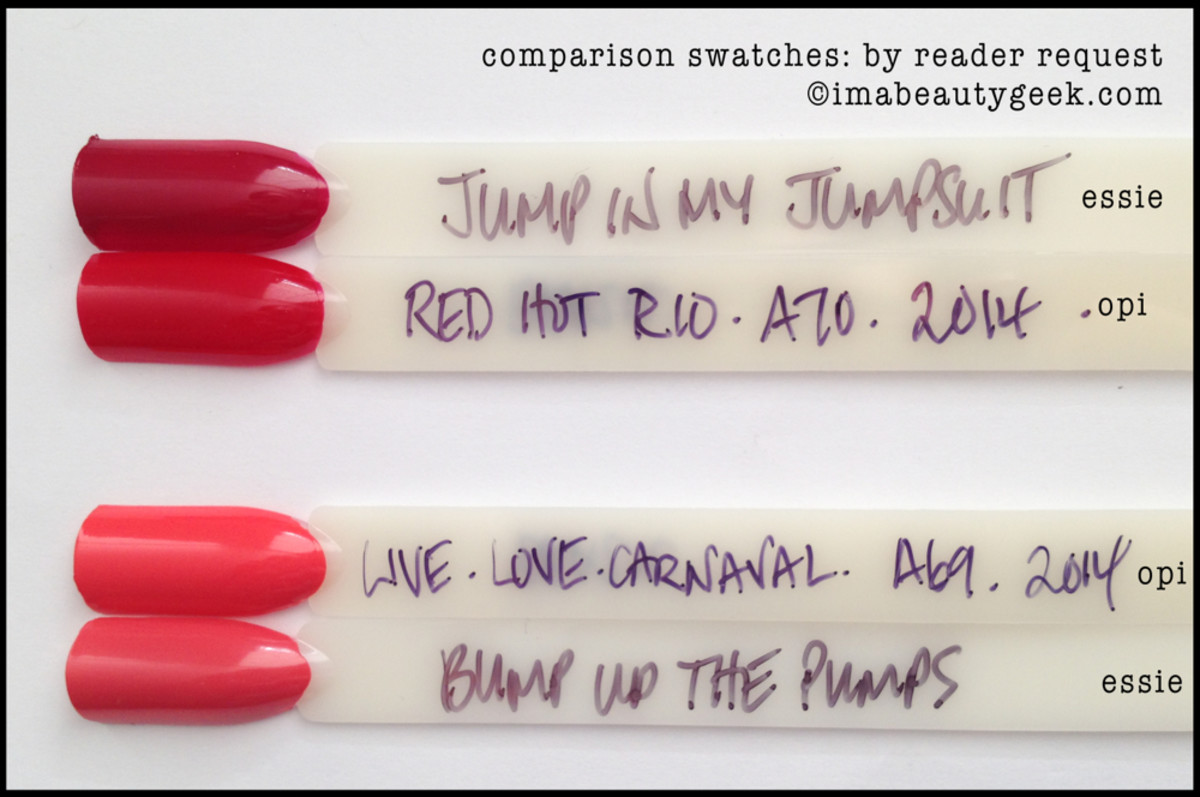 Essie Jiggle Hi Bump Up the Pumps Comparison Swatch