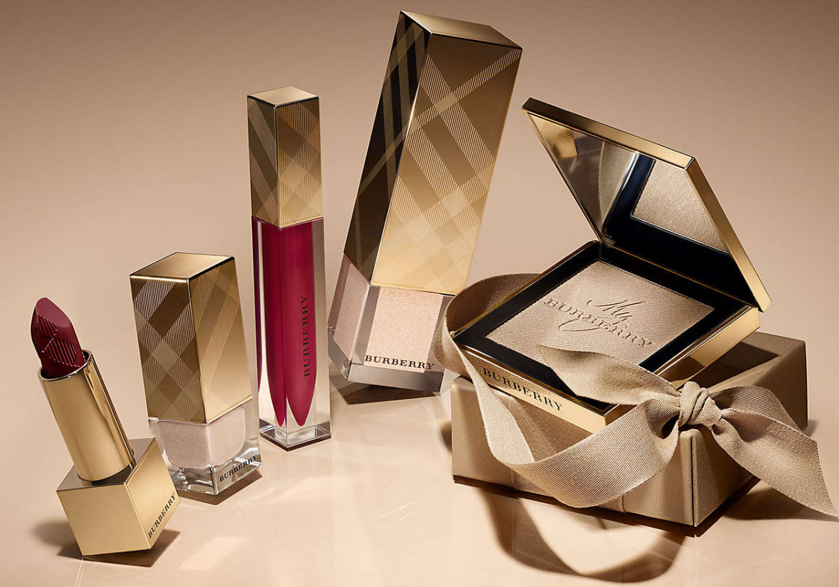 burberry winter glow -- oxblood and gold