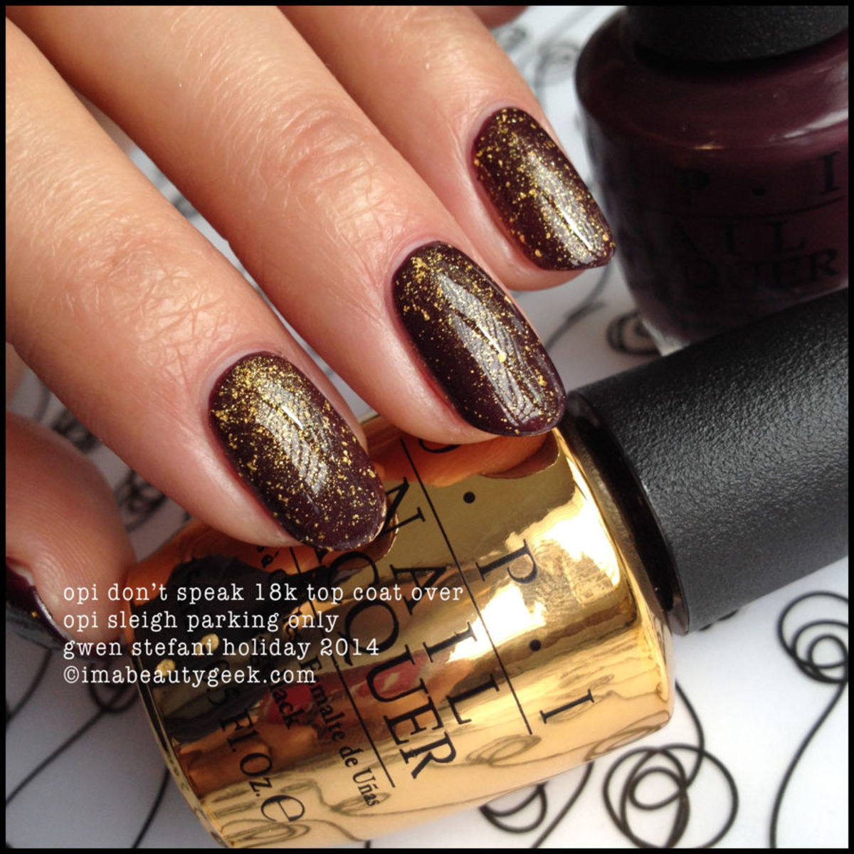 opi gwen stefani holiday 2014: don't speak 18k gold top coat over sleigh parking only