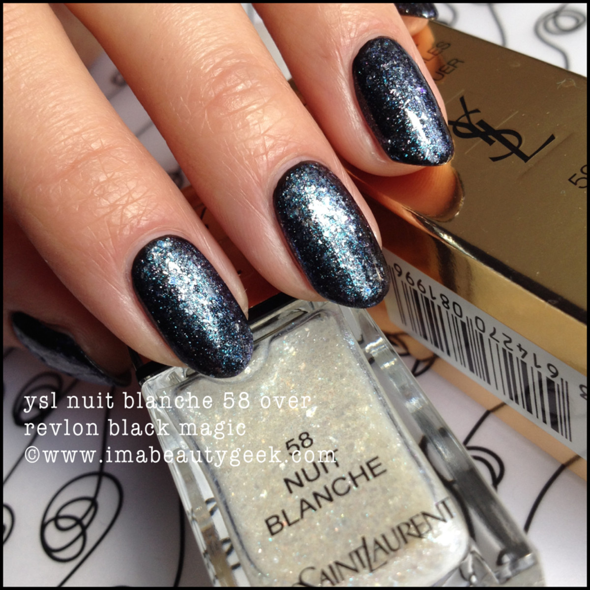 YSL Nuit Blanche 58 polish over Black
