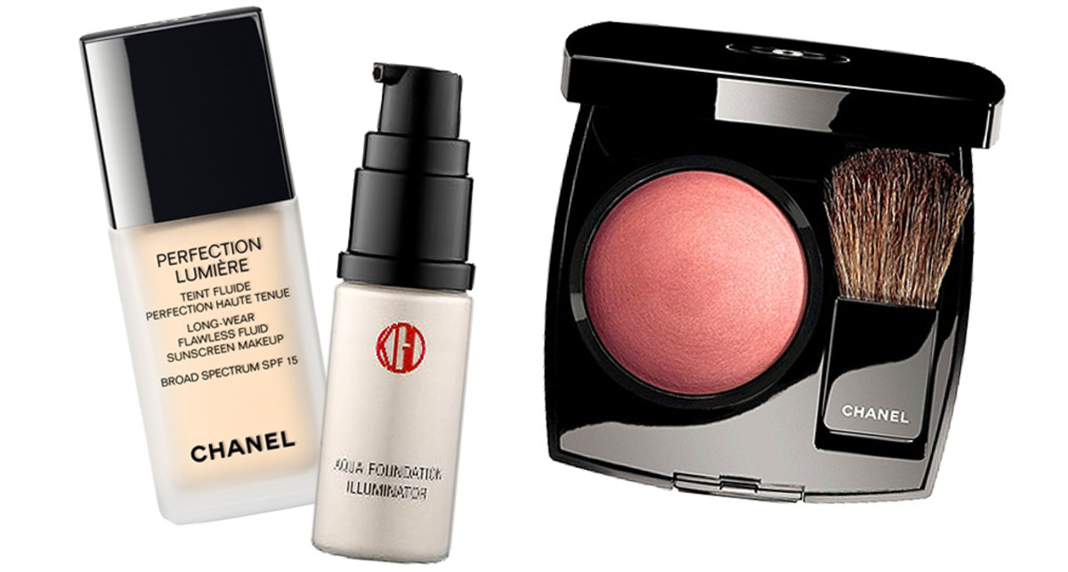 Kat Dennings_Chanel Perfection Lumiere Foundation_Koh Gen Do Maifanshi Aqua Foundation Illuminator_Chanel Joues Contraste Powder Blush in Rose Petale