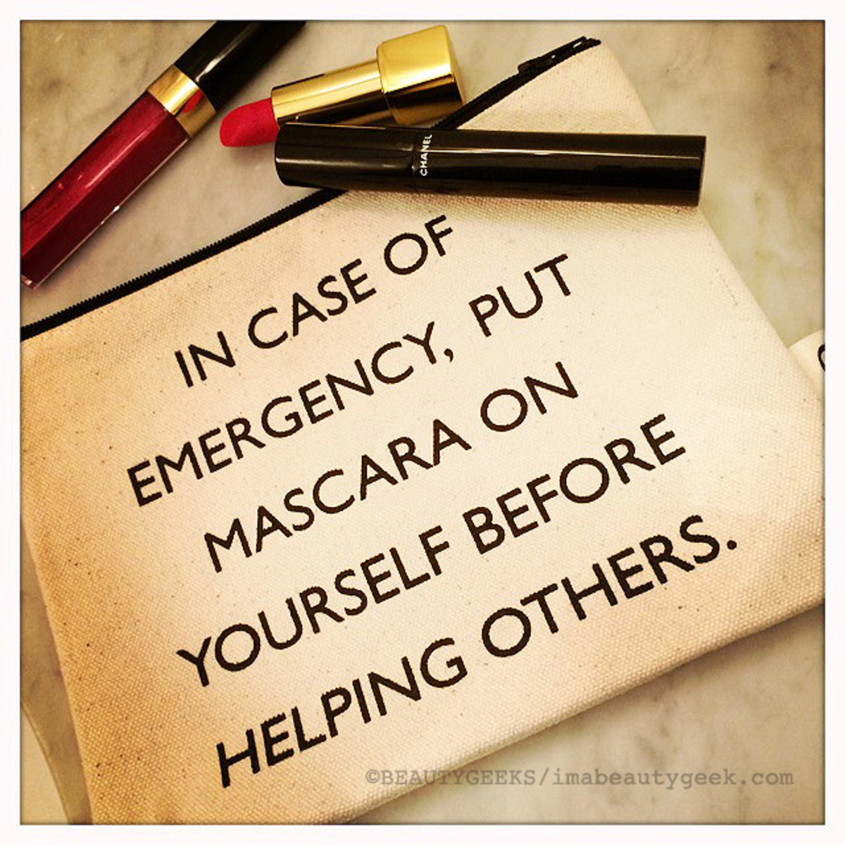 In case of emergency, put mascara on y ourself before helping others_Pamela Barsky pouch