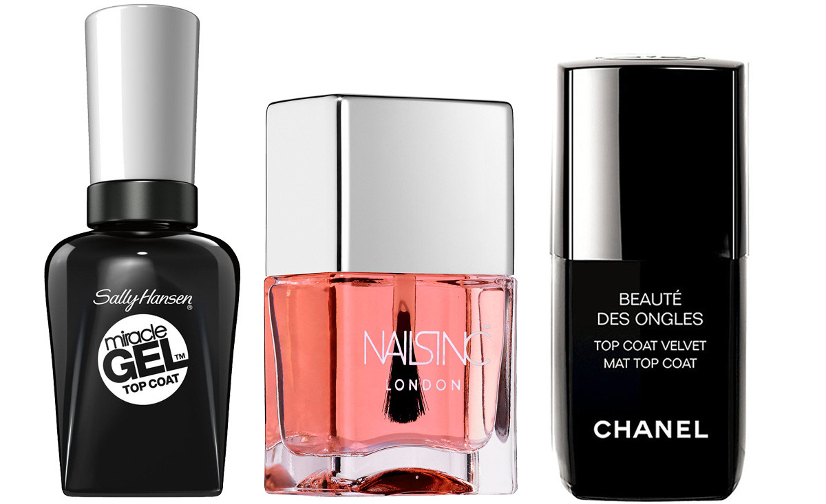 Best top coats_Sally Hansen Miracle Gel_Nails Inc 45 Second Top Coat_Chanel Velvet Mat Top Coat