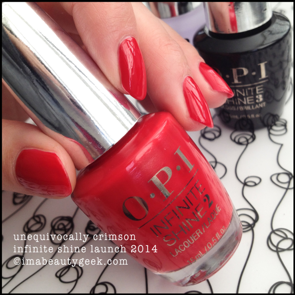 OPI Unequivocally Crimson Infinite Shine Swatch