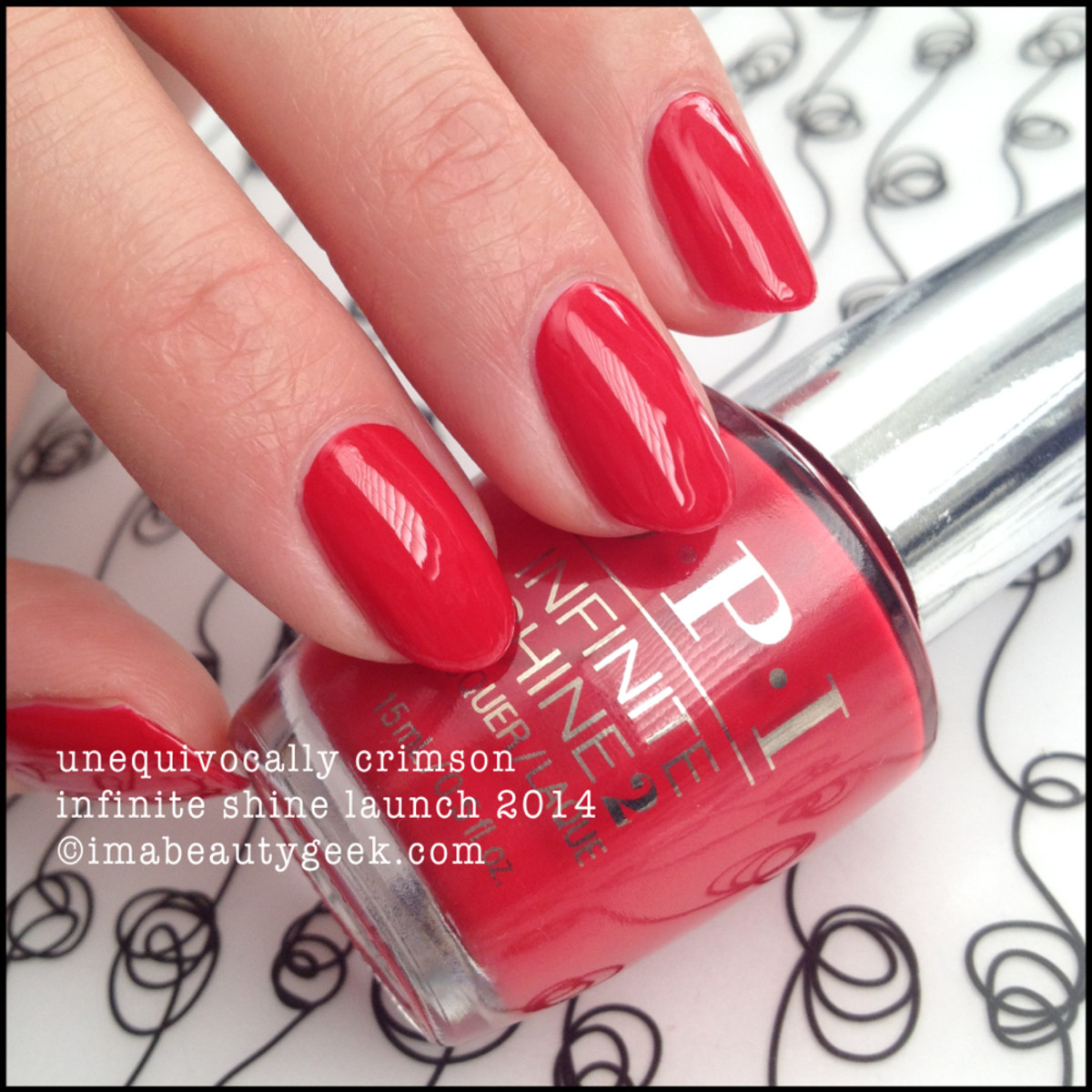 OPI Infinite Shine Unequivocally Crimson Swatch