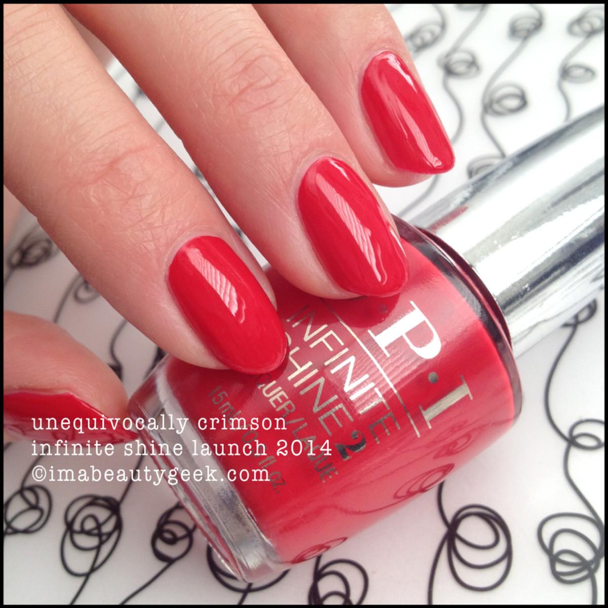 OPI Infinite Shine Unequivocally Crimson Swatch