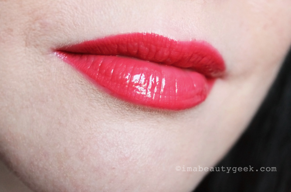 Chanel Rouge Double Intensite Ultra Wear Lip Color in Strawberry Red_not too bright for red-lip first-timers