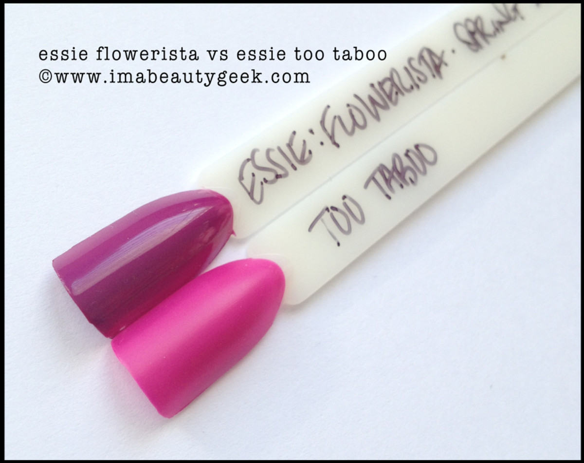 Essie Flowerista Comparison Too Taboo Beautygeeks