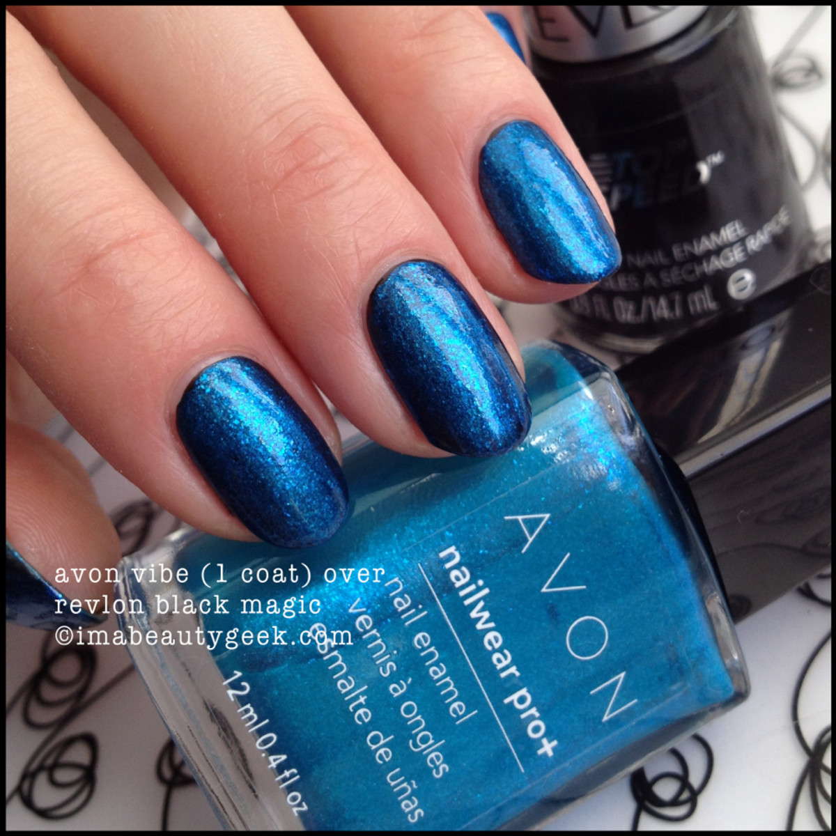 Avon Electric Shades Vibe over Revlon Black Magic