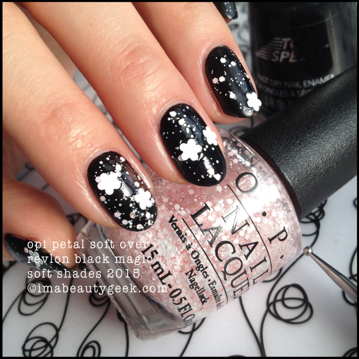 OPI Soft Shades 2015 Petal Soft over Revlon Black Magic