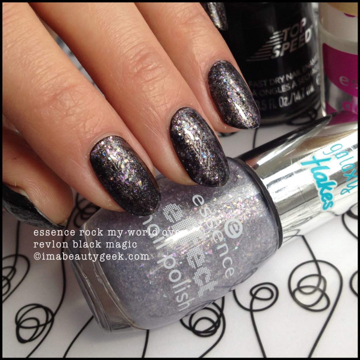 Essence Rock My World Galaxy Flakes over Black Magic