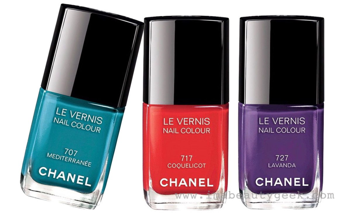 Chanel Summer 2015 makeup: Méditerranée nail polish in 707 Mediterranée, 717 Coquelicot and 727 Lavanda