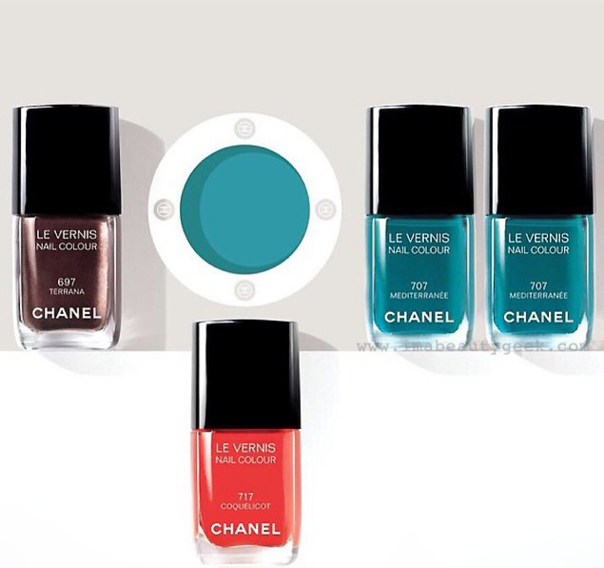 Chanel Summer 2015 makeup: Méditerranée collection Les Vernis Terrana, Mediterranee and Coquelicot