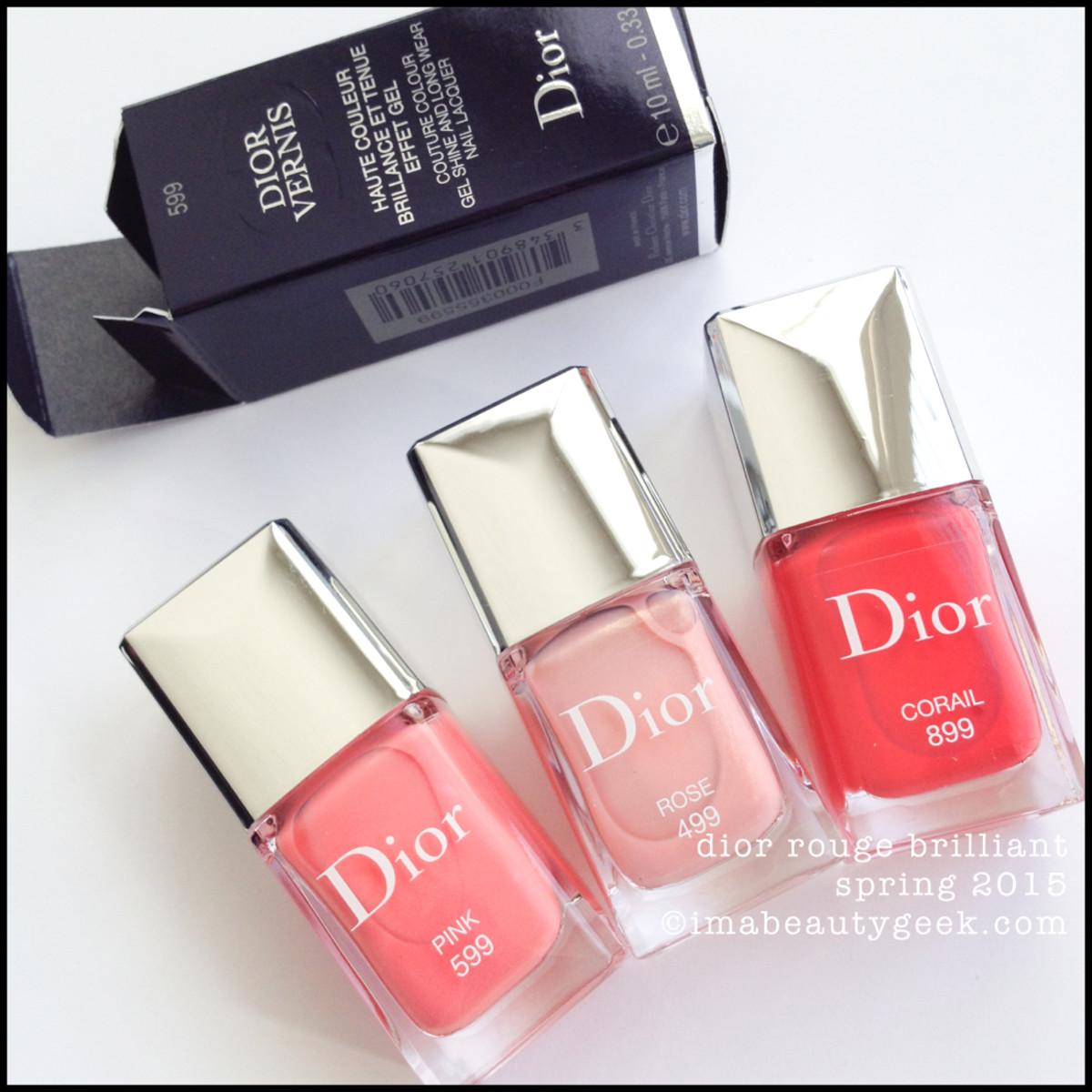 Dior Rouge Brilliant Vernis Spring 2015 Pink 599 Rose 499 Corail 899