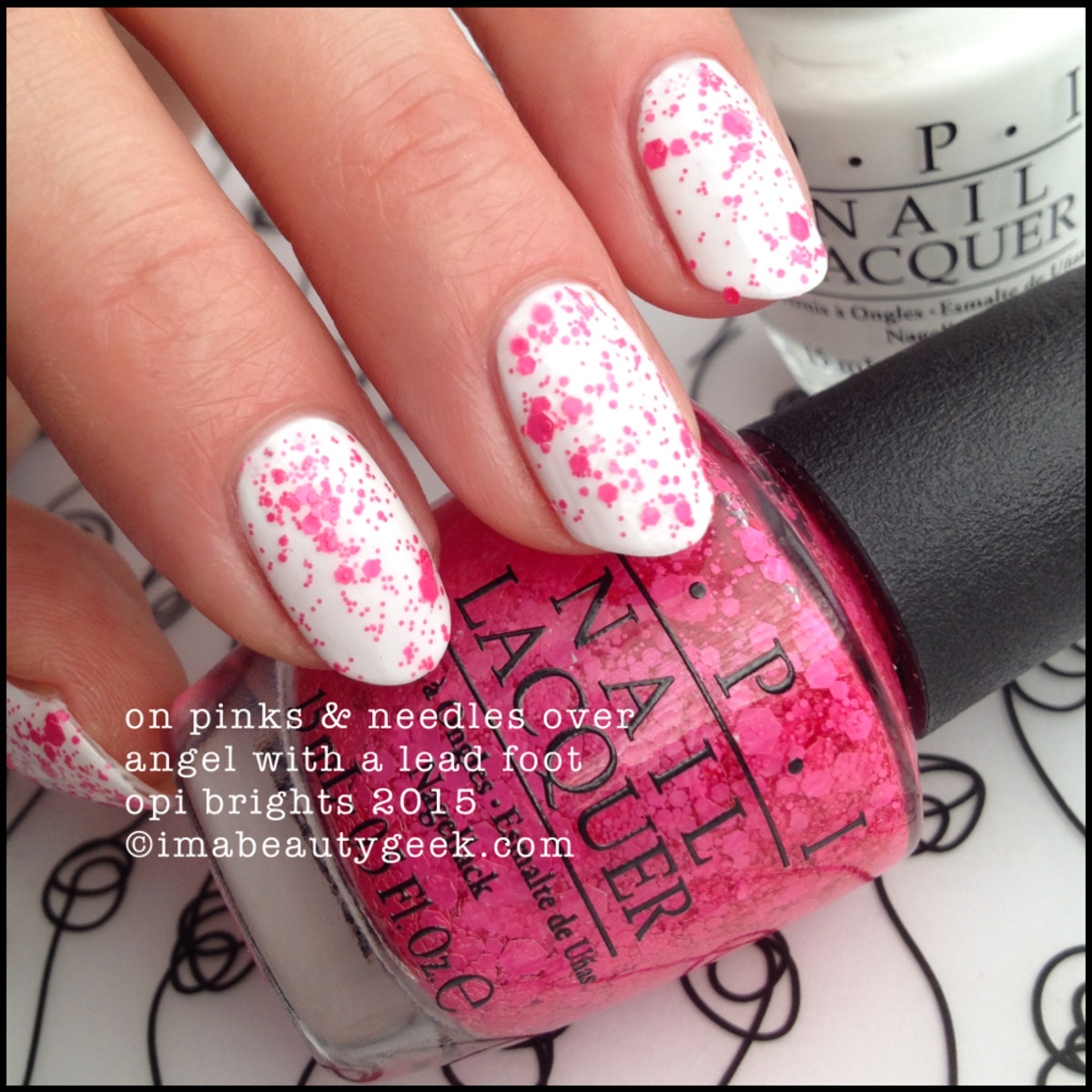 OPI Brights 2015_On Pinks & Needles over OPI Angel with a Lead Foot