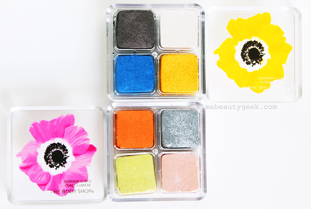 The Body Shop Yellow Poppy Shimmer Cubes and Pink Poppy Shimmer Cubes Spring 2015