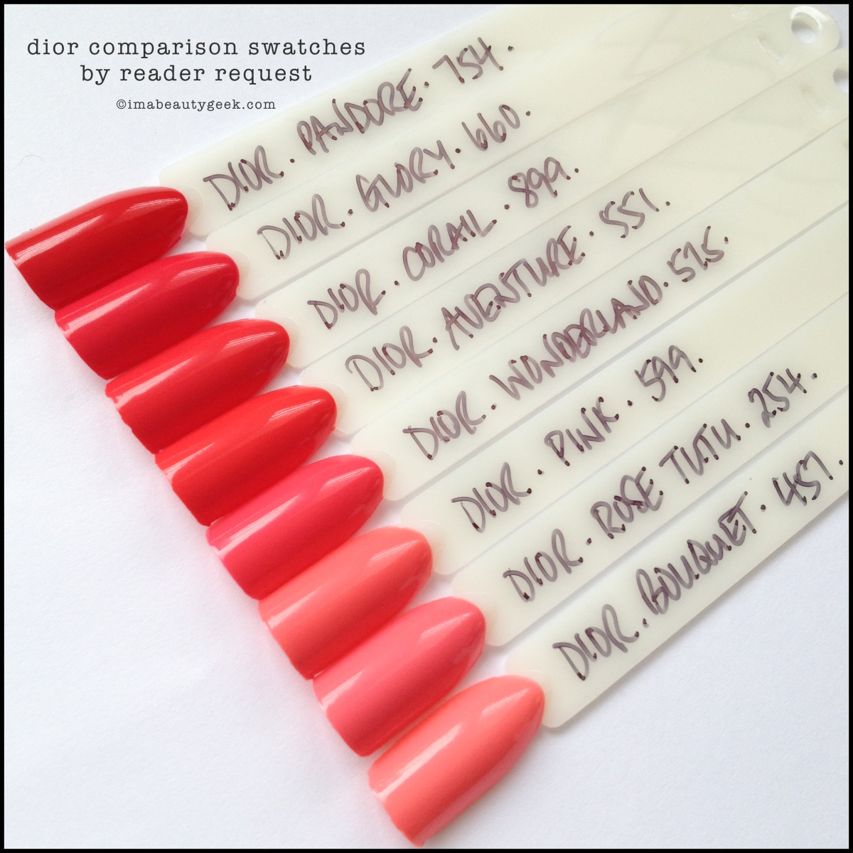 Dior Corail Comparison Swatch with other Dior Glory