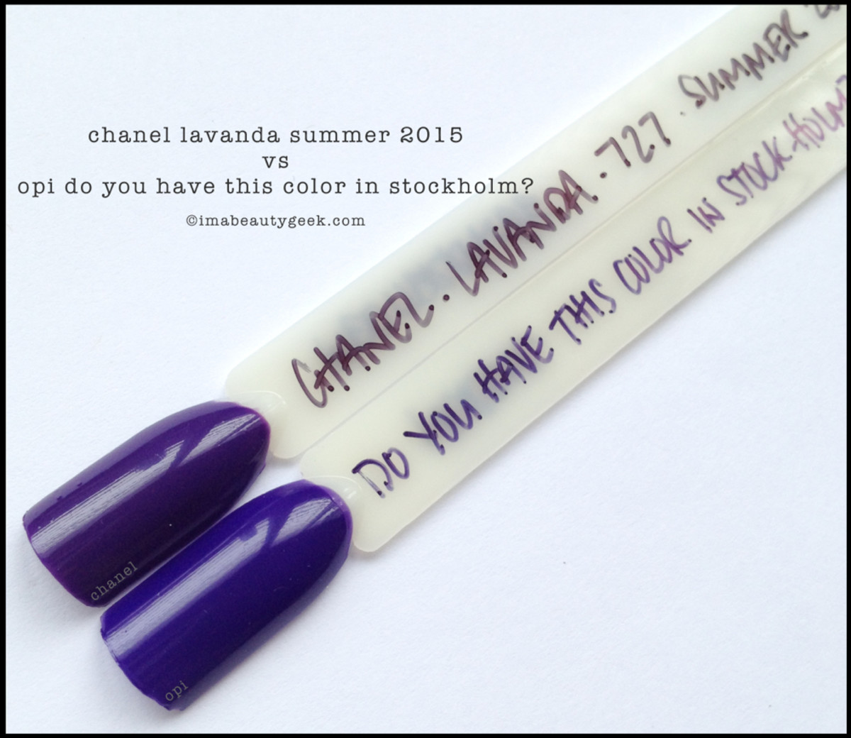 Chanel Lavanda Comparison Swatch vs OPI