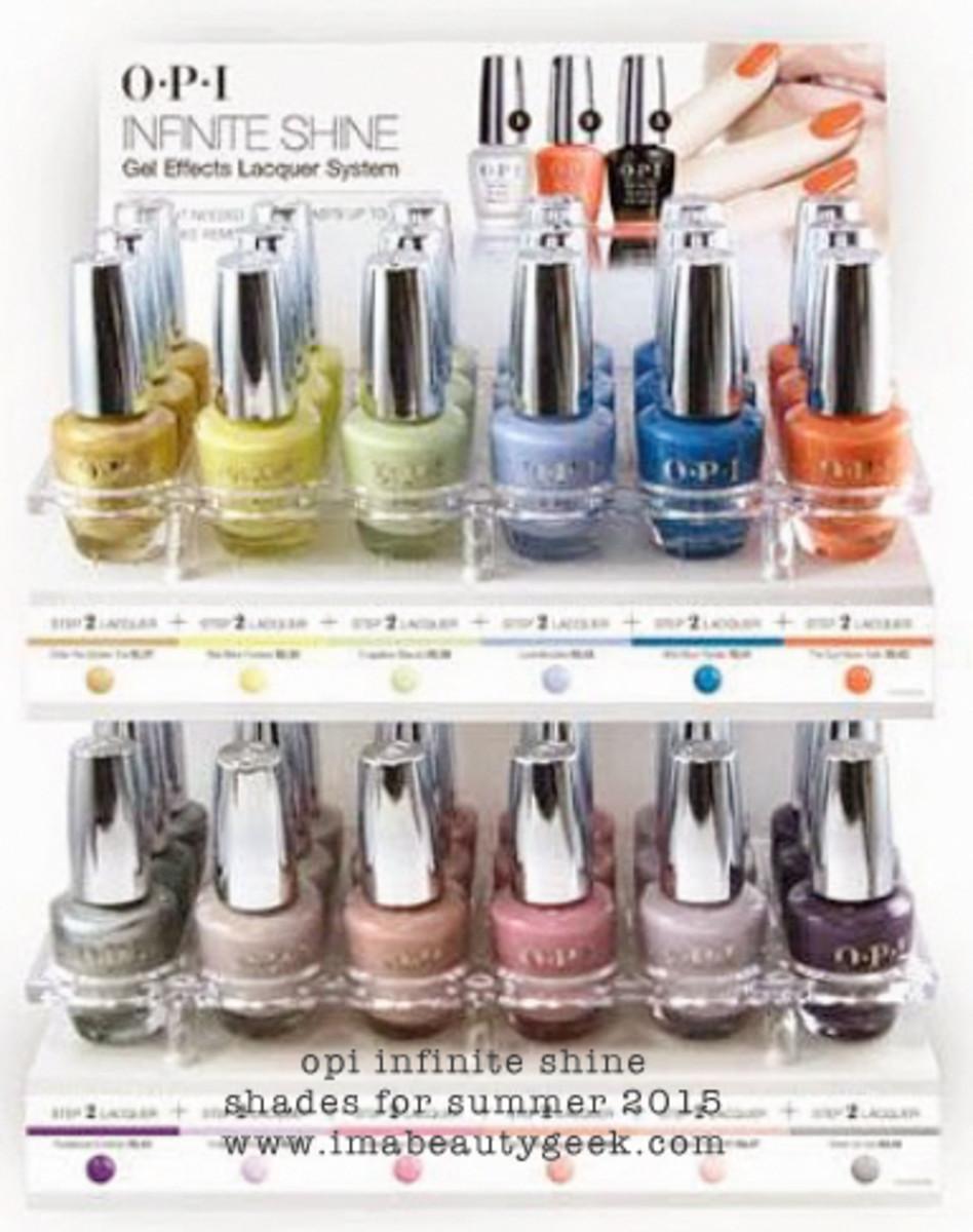 OPI Infinite Shine Summer 2015 Display Beautygeeks