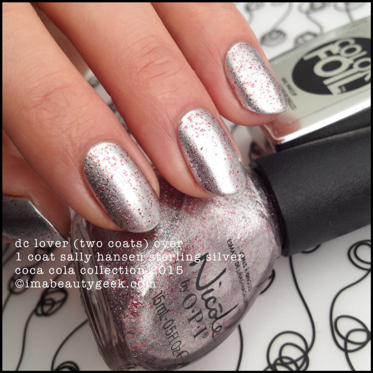 Nicole by OPI Coca Cola DC Lover over Sally Hansen Sterling Silver