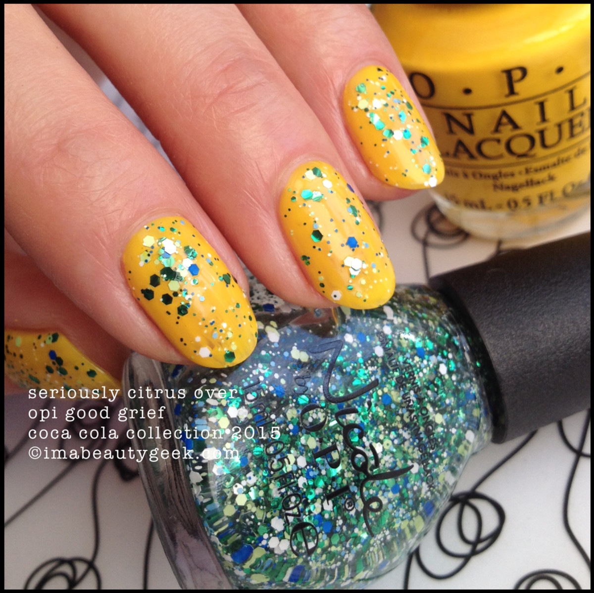 Nicole by OPI Coca Cola Collection Seriously Citrus over OPI Good Grief 2015