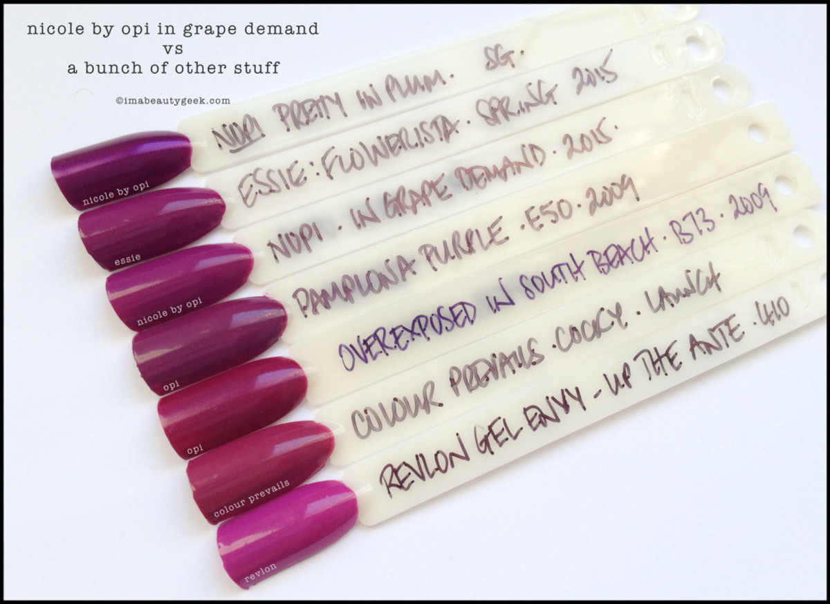Nicole by OPI In Grape Demand Comparison Swatches