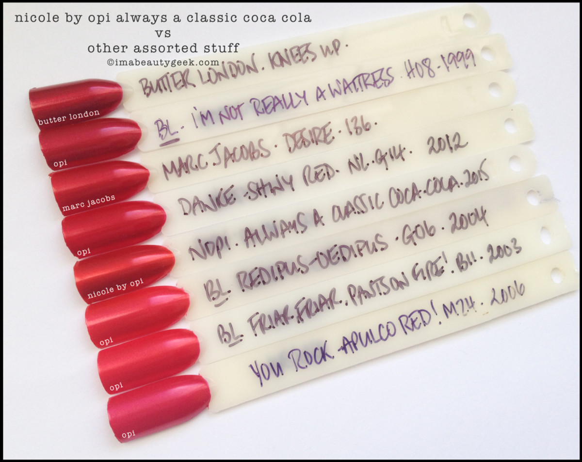 Nicole by OPI Always a Classic Coca Cola Comparison Swatches Beautygeeks