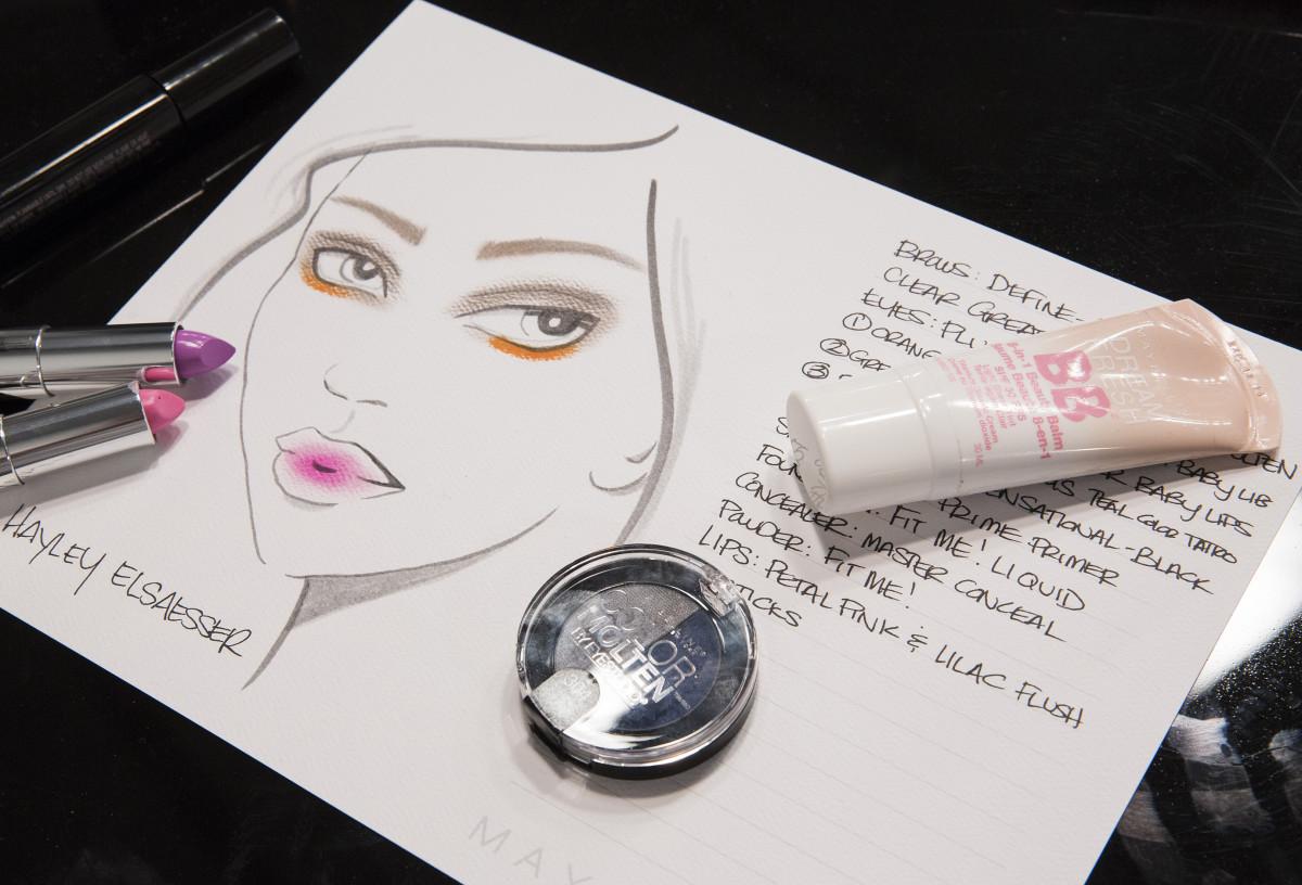 The simple makeup chart of Grace Lee's makeup design for the Hayley Elsaesser runway look.