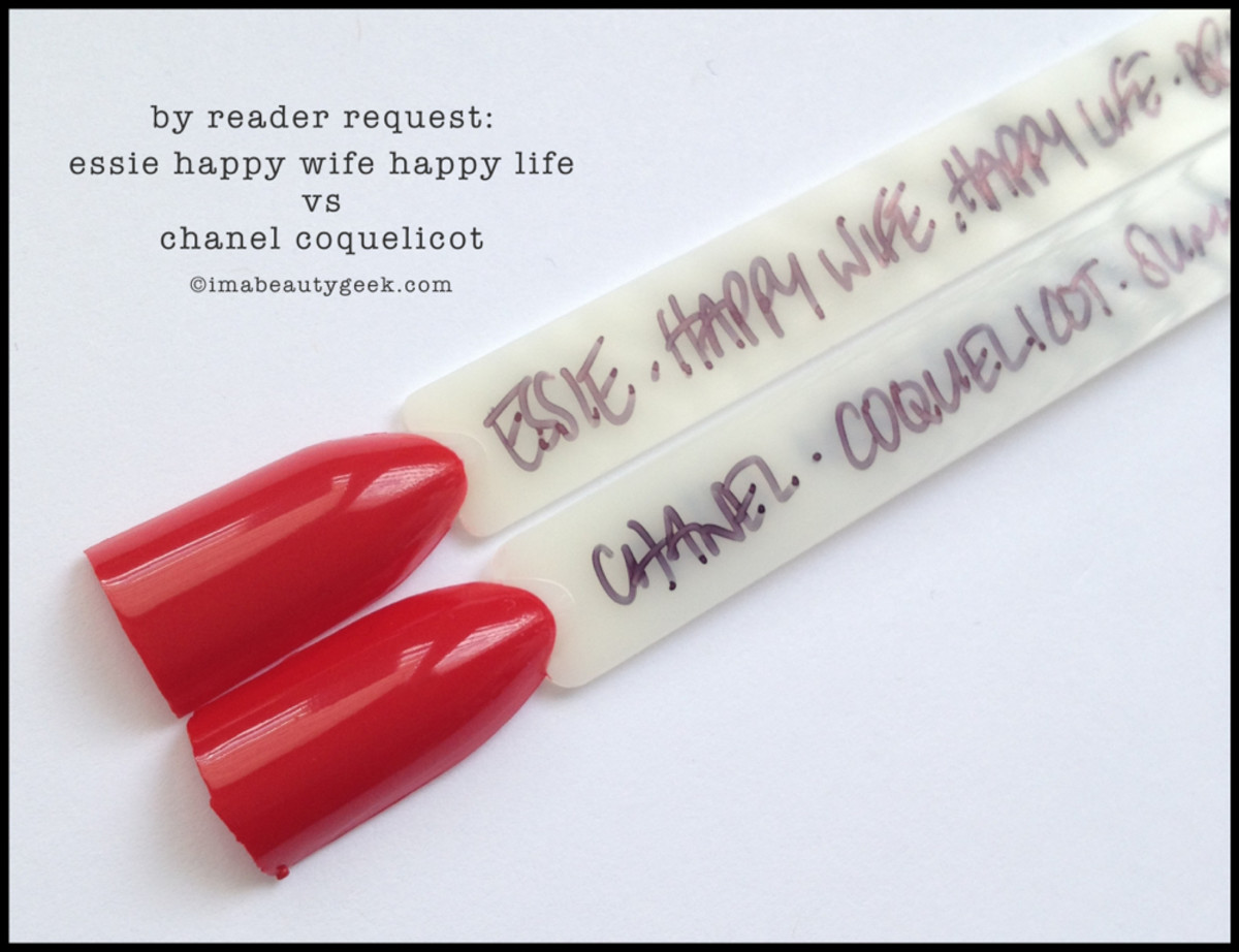 Essie Happy Wife Happy Life Comparison Chanel Coquelicot