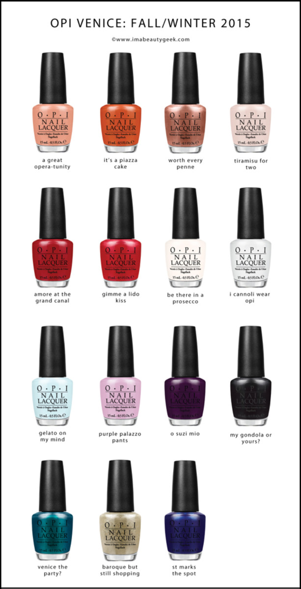 OPI Venice Fall Winter 2015 Beautygeeks Bottles