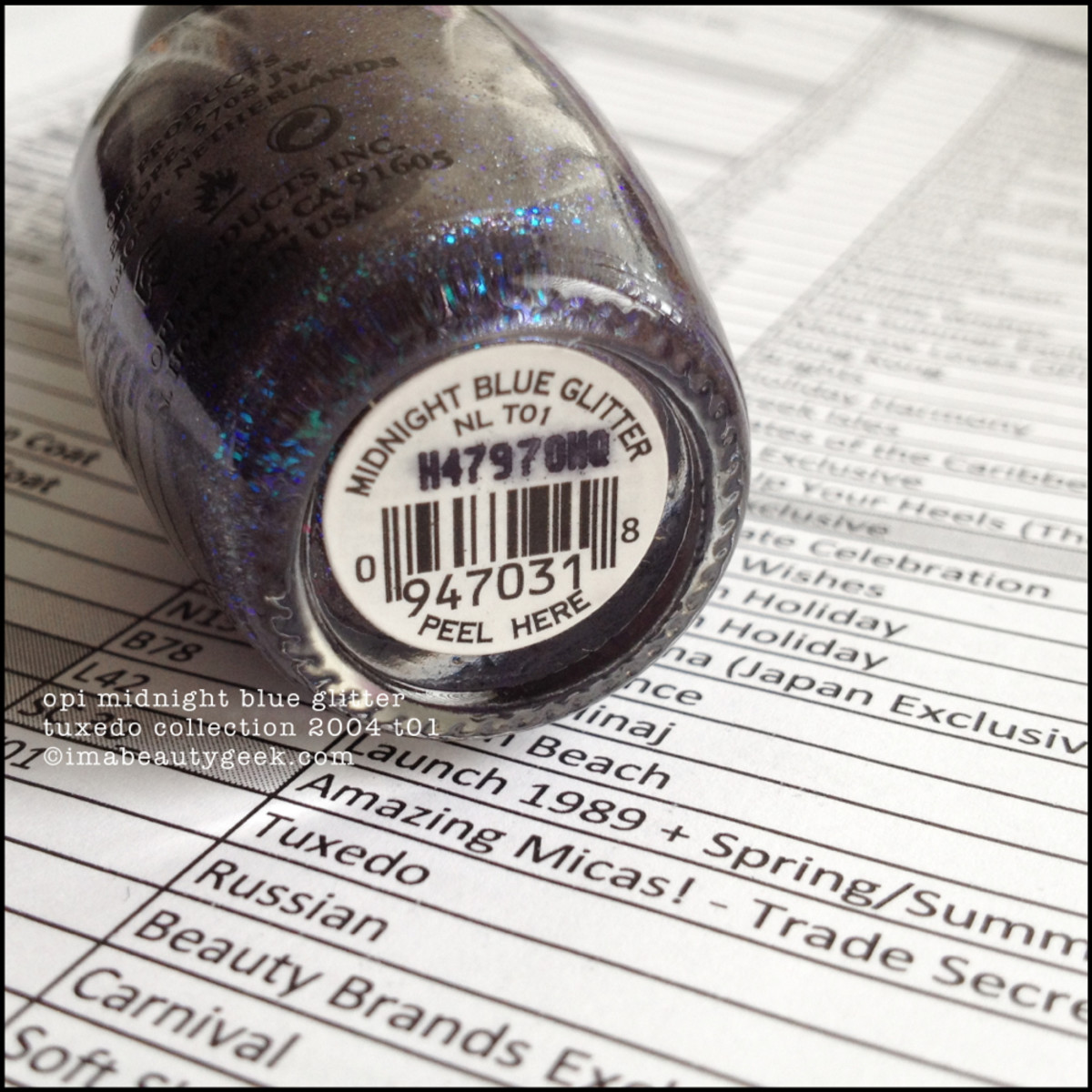OPI Midnight Blue Glitter Black Label OPI Tuxedo Collection 2004 Beautygeeks