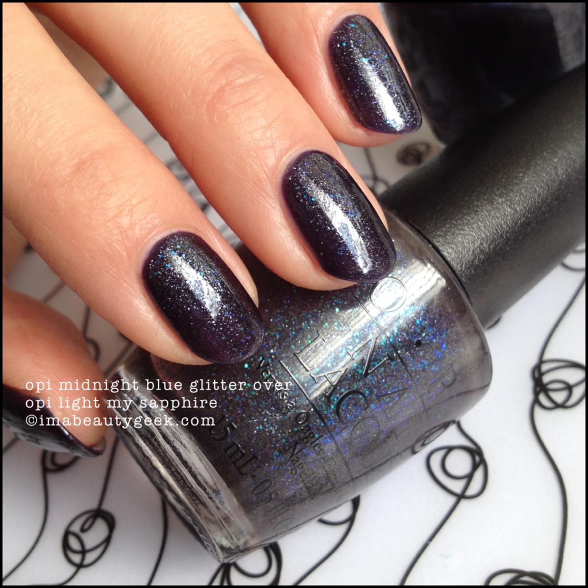 OPI Midnight Blue Glitter over OPI Light My Sapphire Beautygeeks