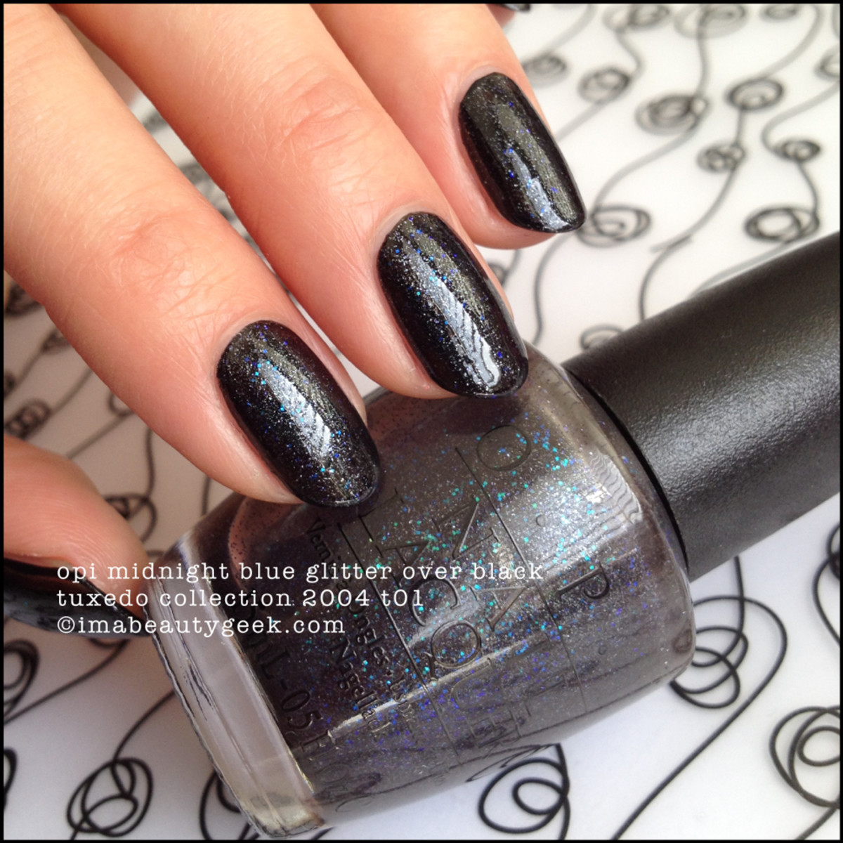 OPI Midnight Blue Glitter over Black BLOPI