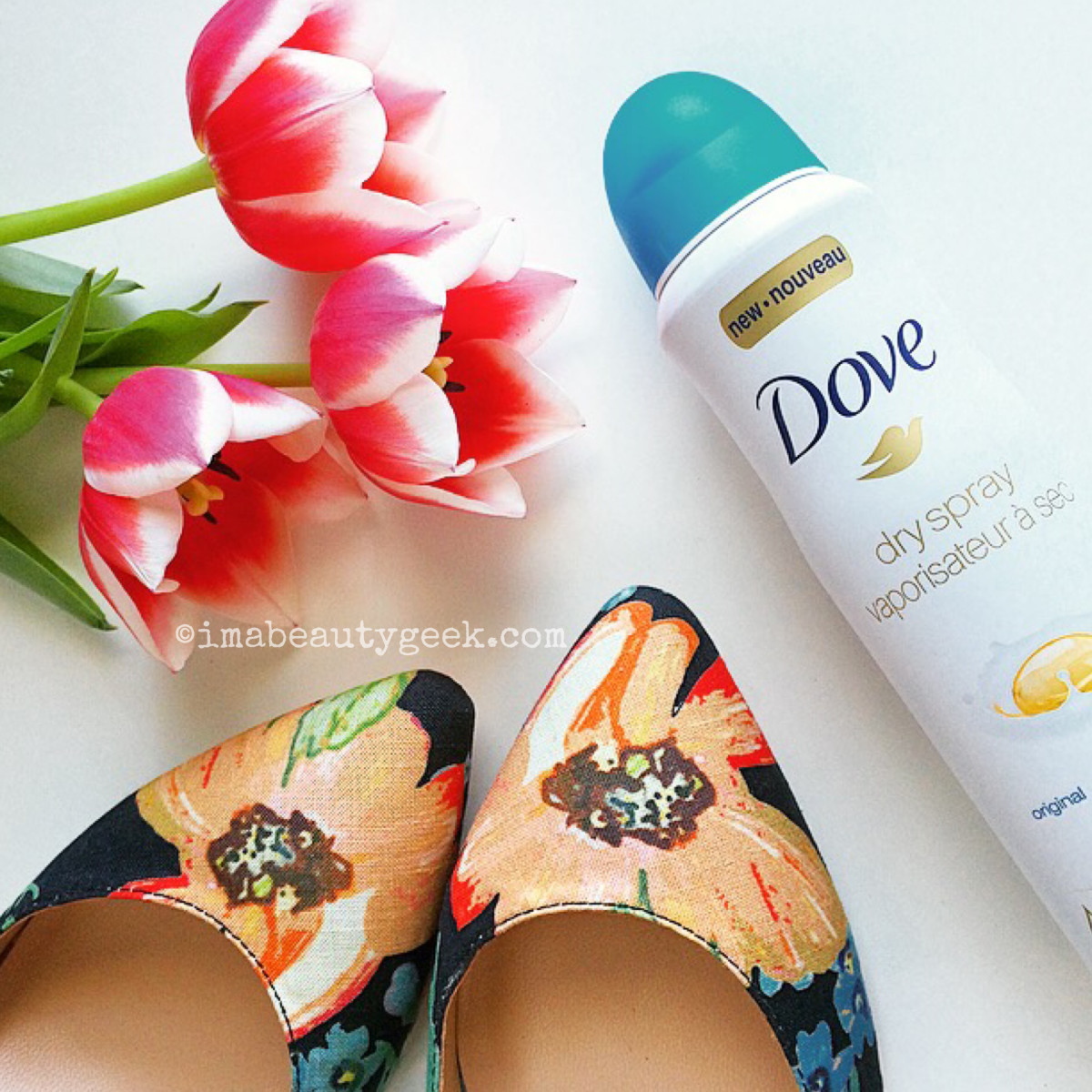 Dove Dry Spray Antiperspirant + shoes