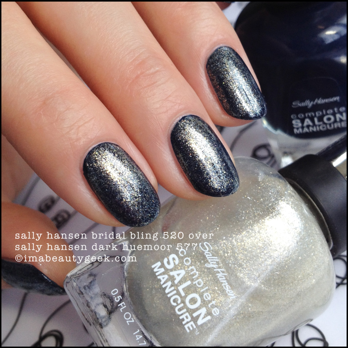 Sally Hansen Bridal Bling over Dark Huemoor Complete Salon Manicure