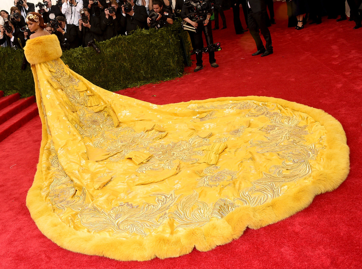 Rihanna and that train at the 2015 Met Ball