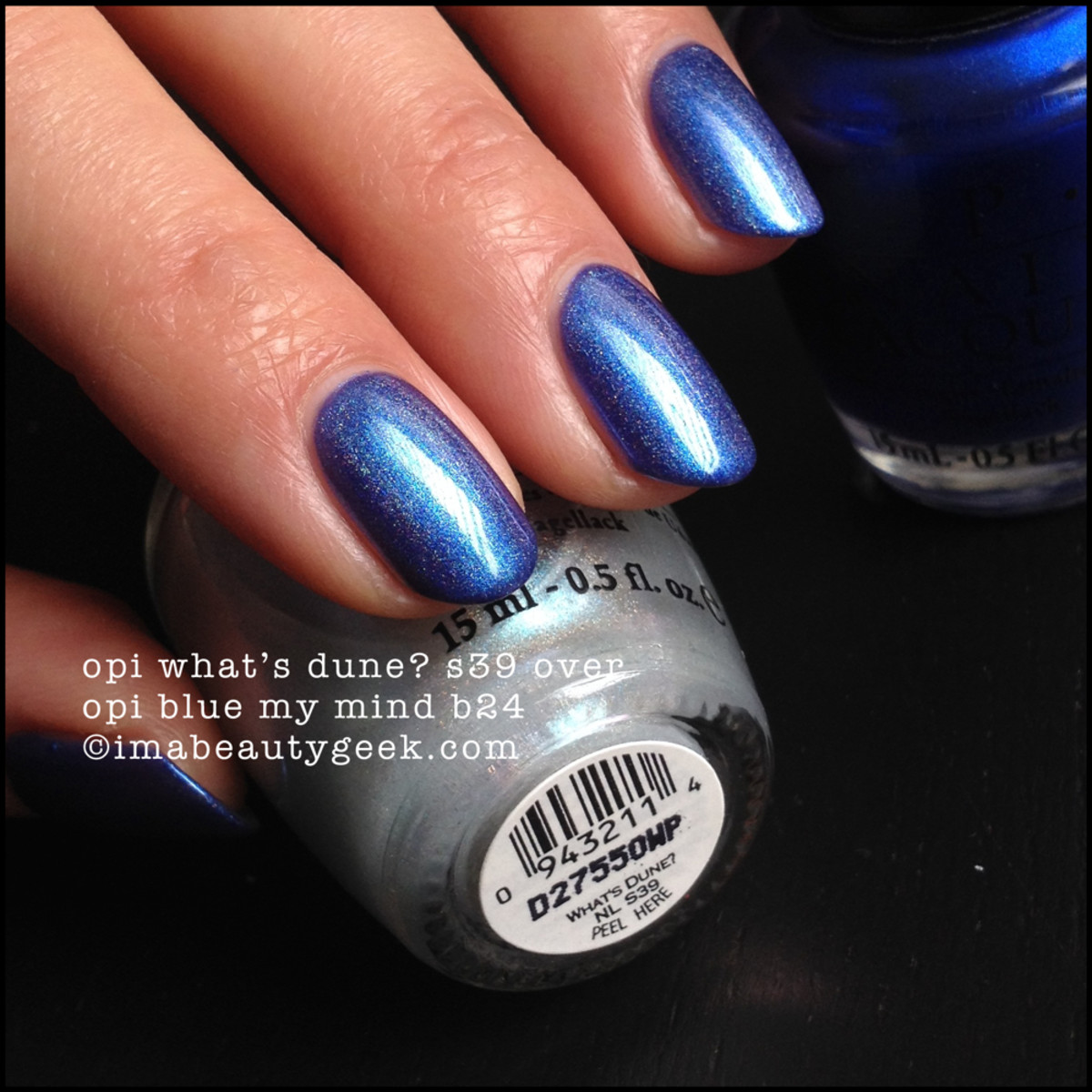 OPI What's Dune S39 2003 over OPI Blue My Mind B24