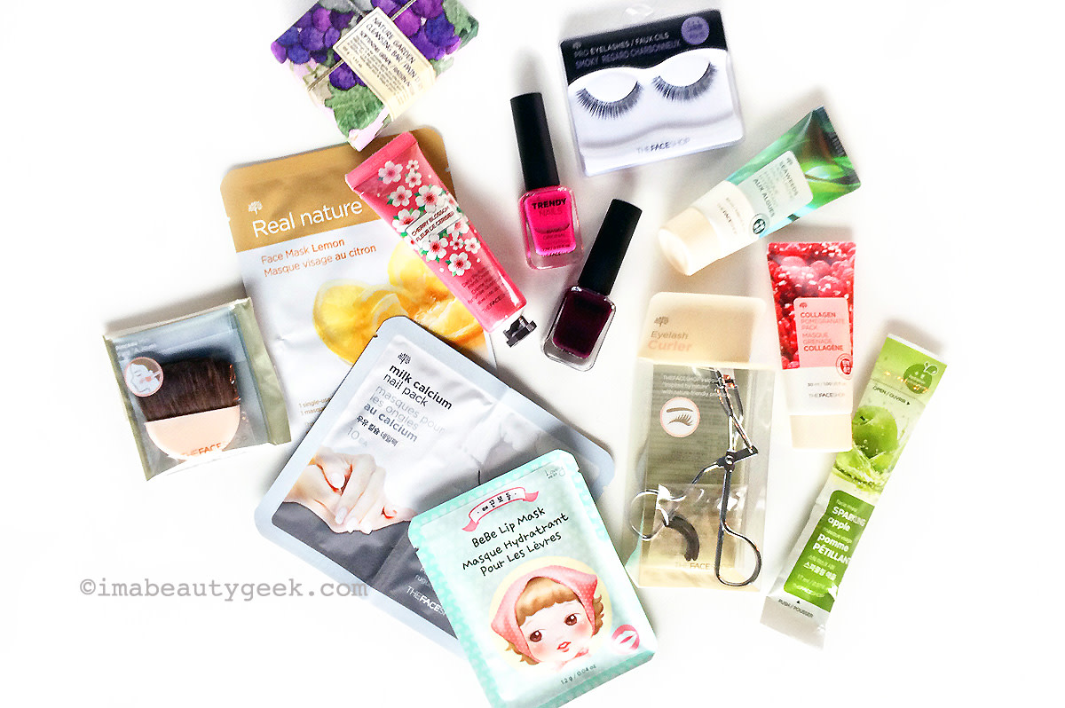 TheFaceShop beauty advent calendar 2015 contents