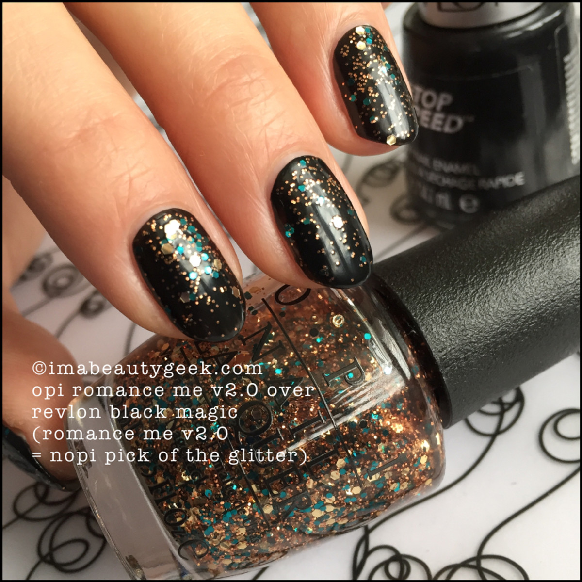 OPI Romance Me 922 over Revlon Black Magic Mystery OPI