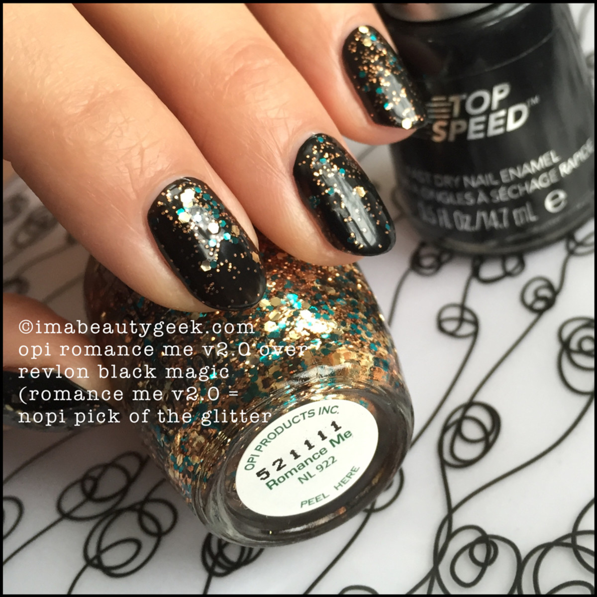 OPI Romance Me over Black NOPI Pick of the Glitter_Mystery OPI Beautygeeks