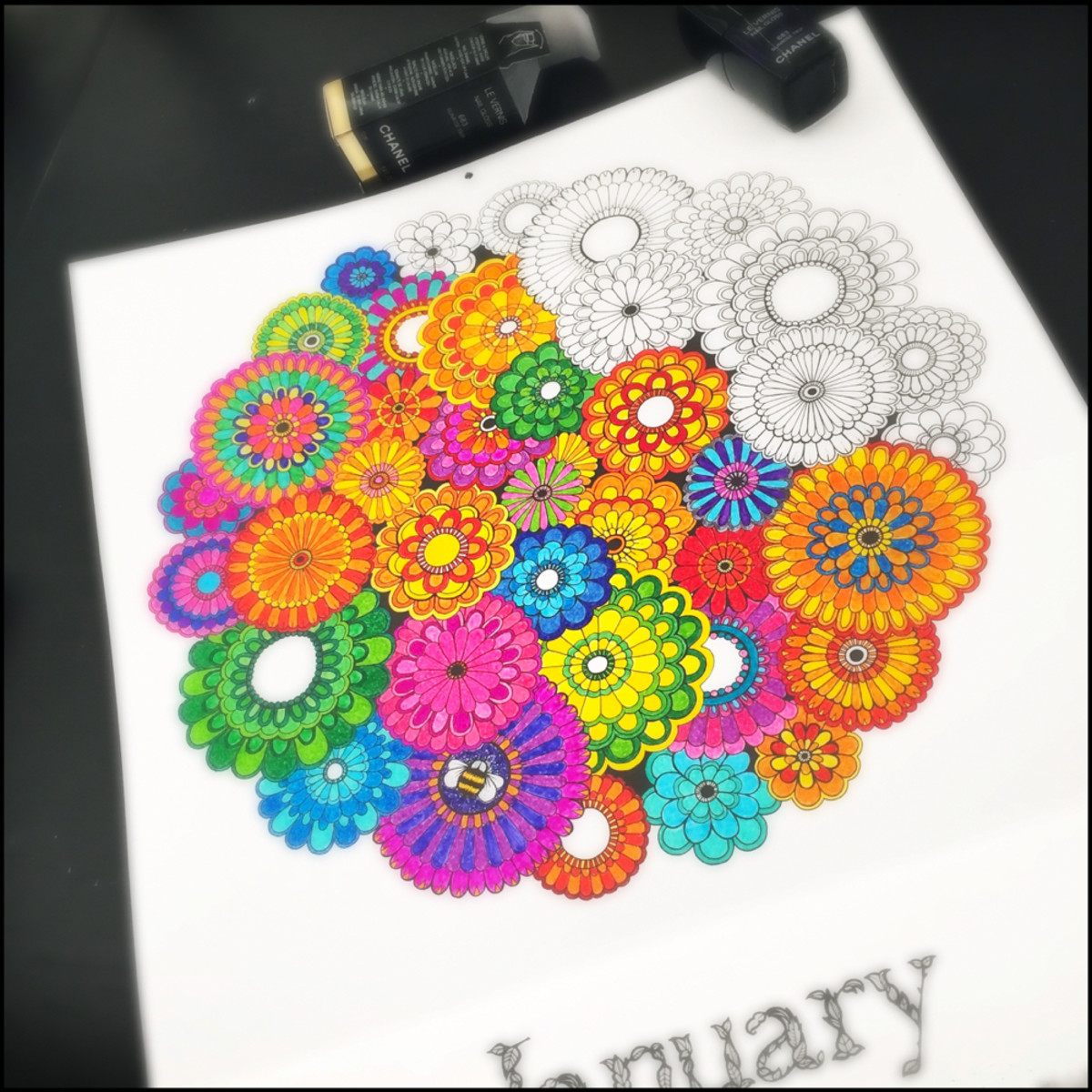 January Secret Garden Coloring Calendar 2016 Johanna Basford