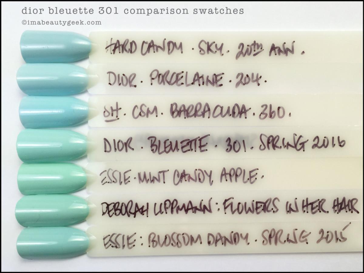 Dior Bleuette 301 Comparison Swatch Essie Mint Candy Apple