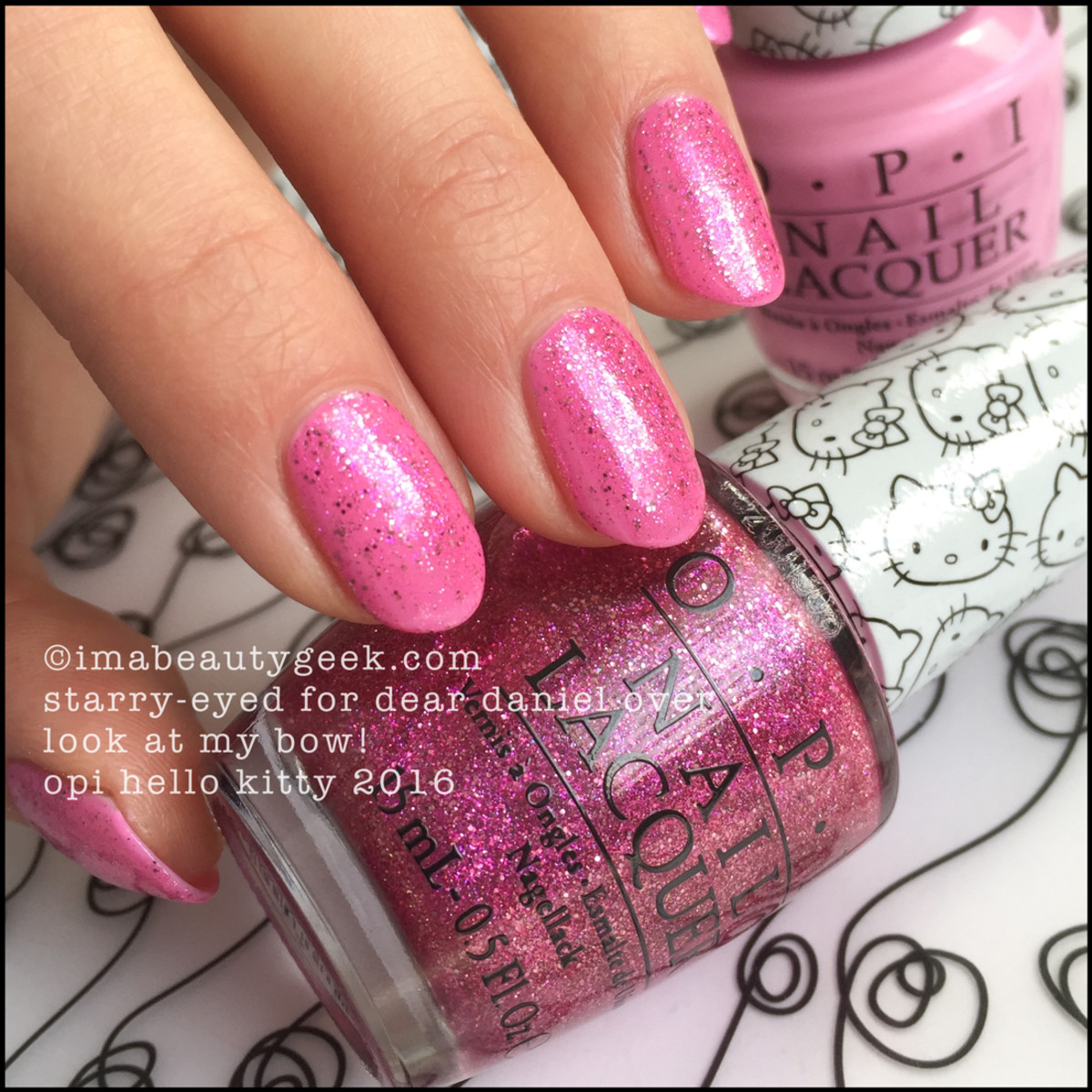 OPI Hello Kitty 2016 Collection_OPI Starry Eyed for Dear Daniel over OPI Look at my Bow